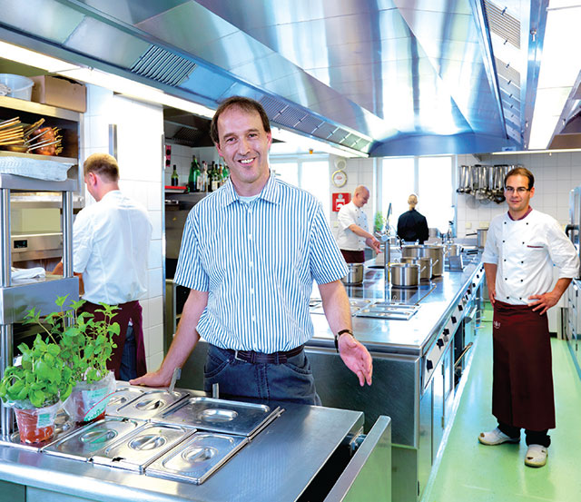 Max Kaufmann in the Alte Krone kitchen