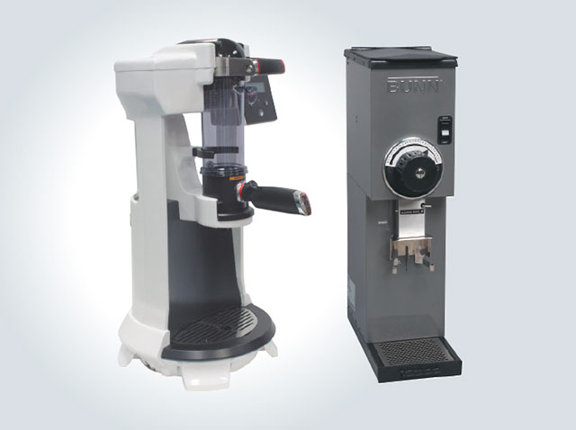 The trifecta® brewer (right) and specifically designed G2 Grinder