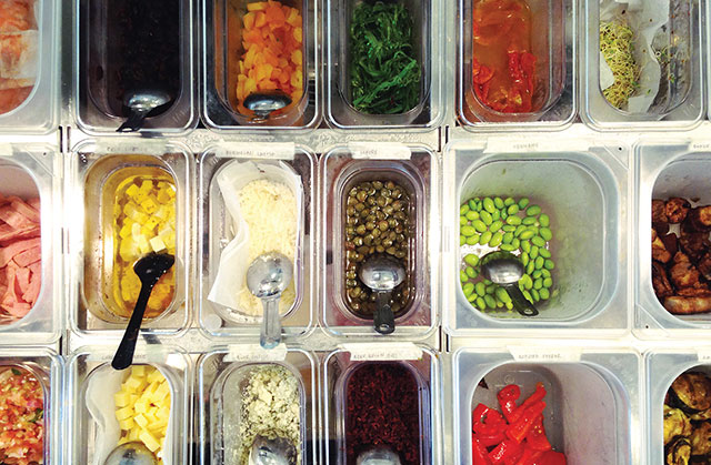 GN pans in various sizes make perfect sense in a salad bar. Image courtesy of Chai Bar (Malaysia)